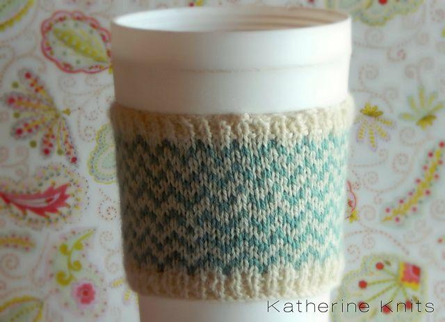 Chevron Coffee Cup Cozy Knitting Pattern Craft Ideas Pinterest