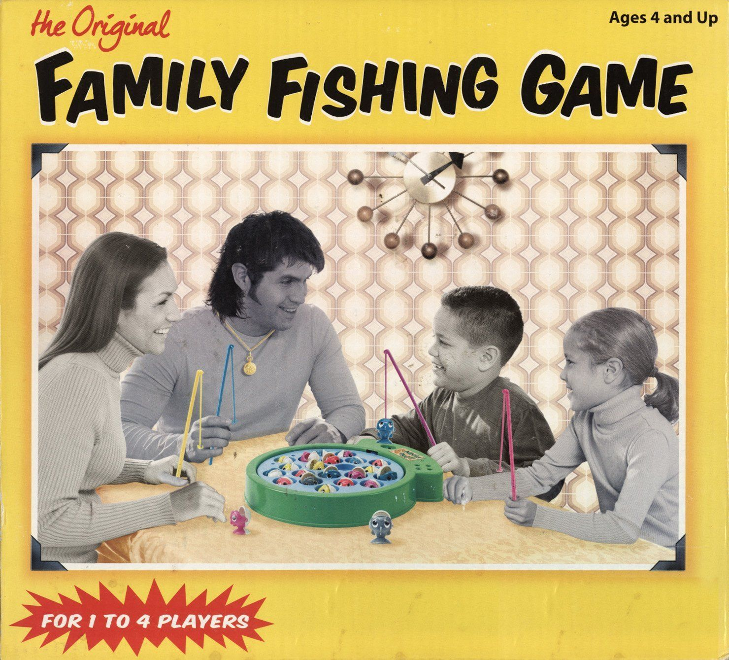 Back by popular demand from the 1970's, the Original Family Fishing Game! The Fish are biting, so just reel them with your fish hook. Our lake spins and the fish pop up randomly for fast fishing fun.
