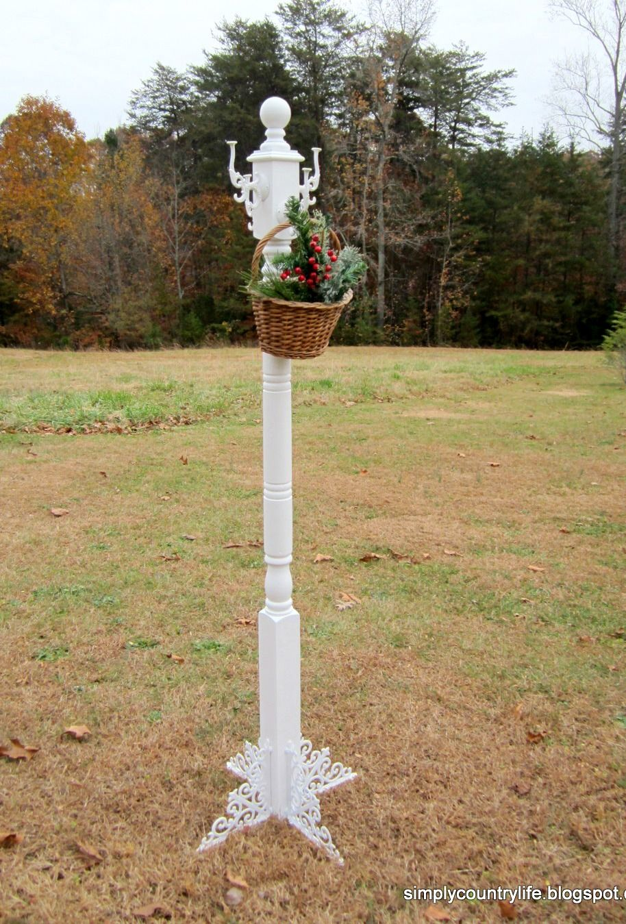 Simply Country Life: Old Architectural Salvaged Porch Post Repurposed into Coat  Rack