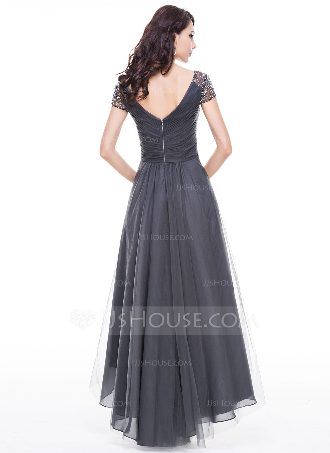 Alineprincess vneck asymmetrical tulle evening dress with ruffle