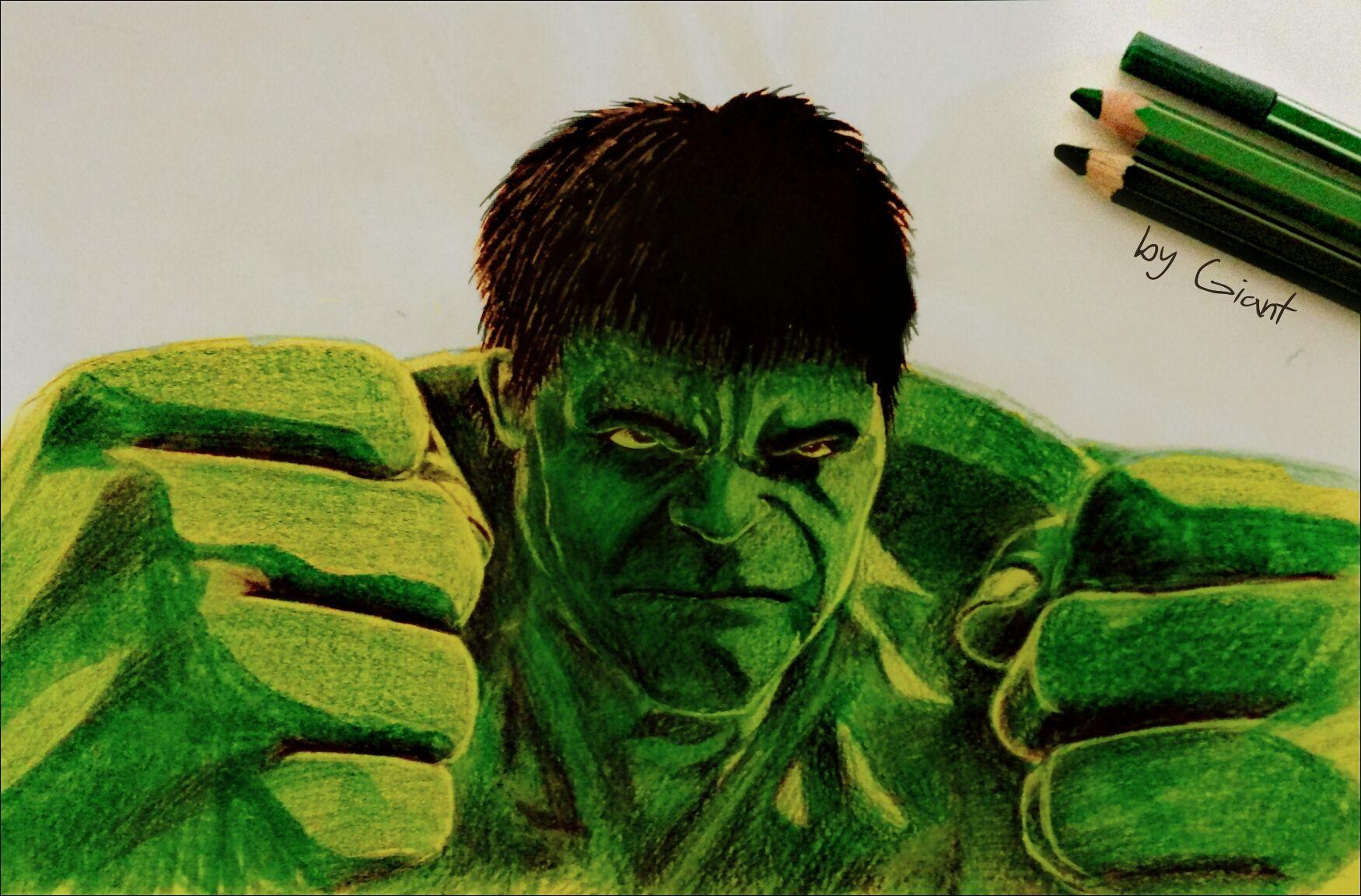 Colour Pencil Drawing Hulk