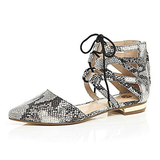 Beige snake ghillie lace up ankle flats