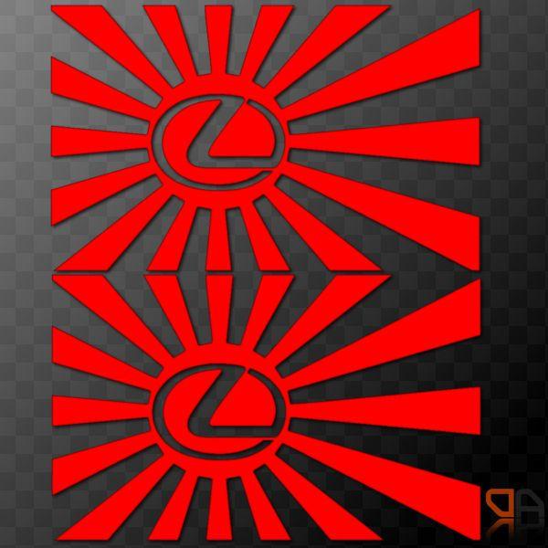 X Pair Japanese Rising Sun With Lexus Logo JDM Car Decals - Lexus custom vinyl decals for car