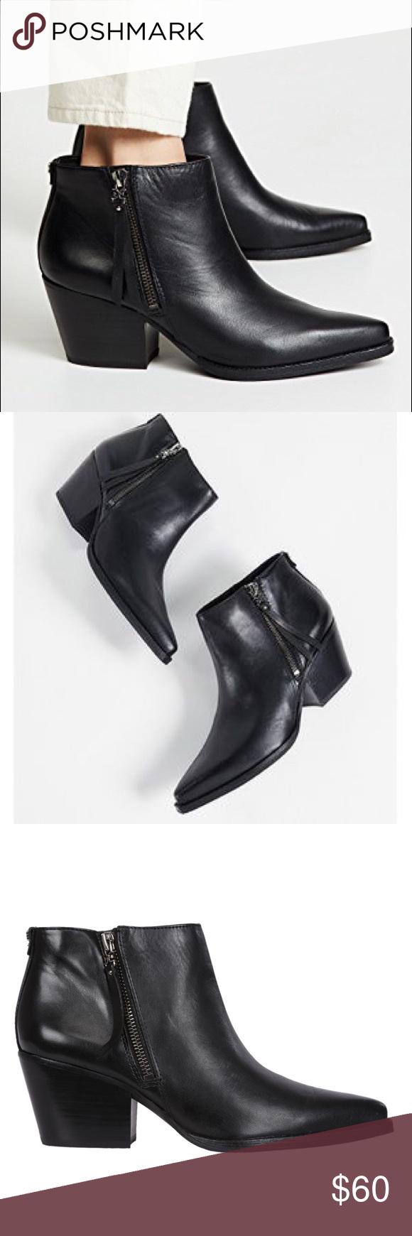 45382468646d SAM EDELMAN Walden bootie Worn once. 8.5. Low block western heel. Zip up  side. Black leather. Sam Edelman Shoes Ankle Boots   Booties