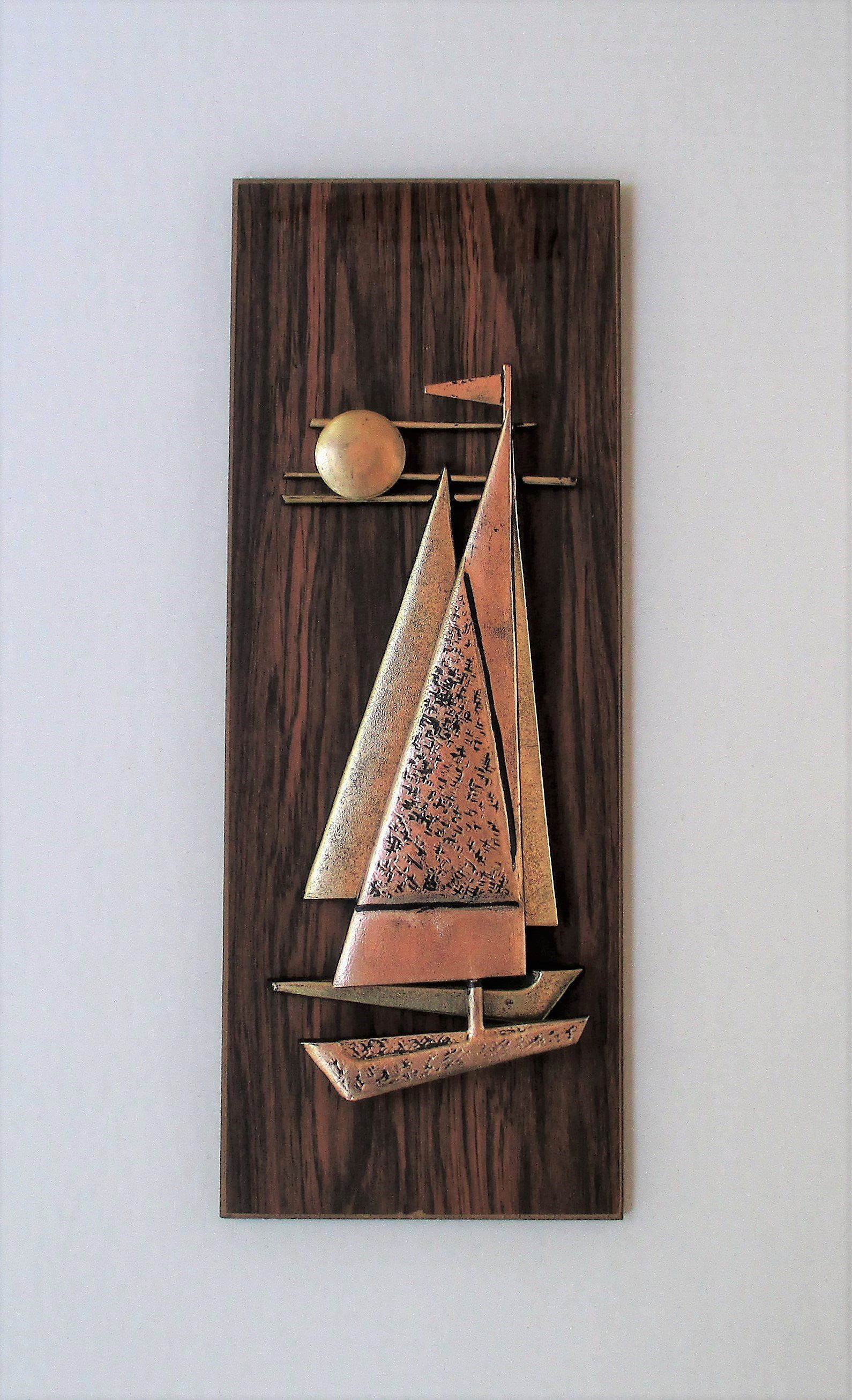 Mid Century Sailboat Under The Moon Wall Art Plaque Vintage Nautical Themed Hanging Retro Beach House Decor
