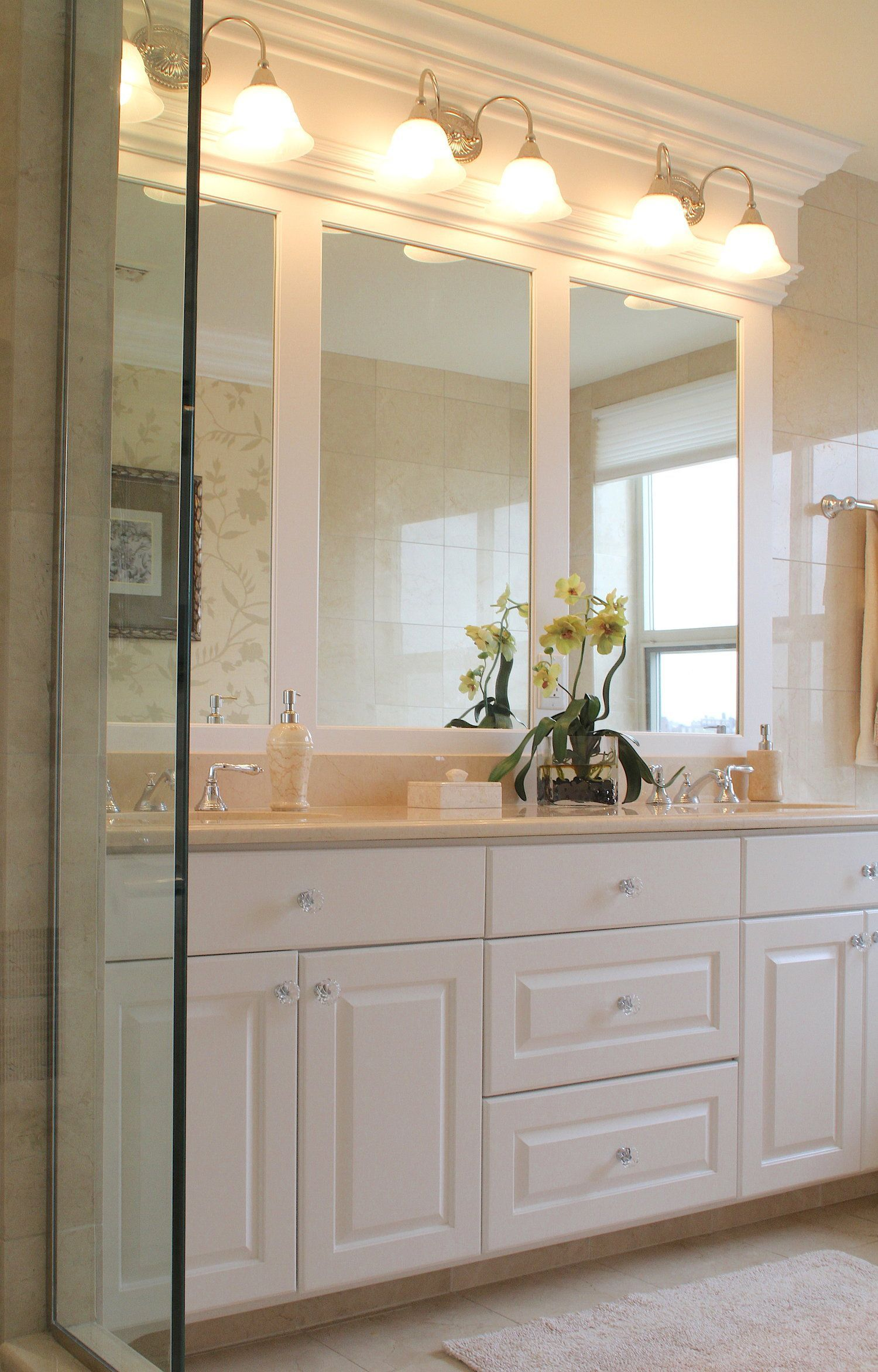 Custom Millwork Was Designed To Mount These Light Fixtures Over The Mirrors In This Master Bathro Bathroom Mirror Design Large Bathroom Mirrors Bathroom Mirror
