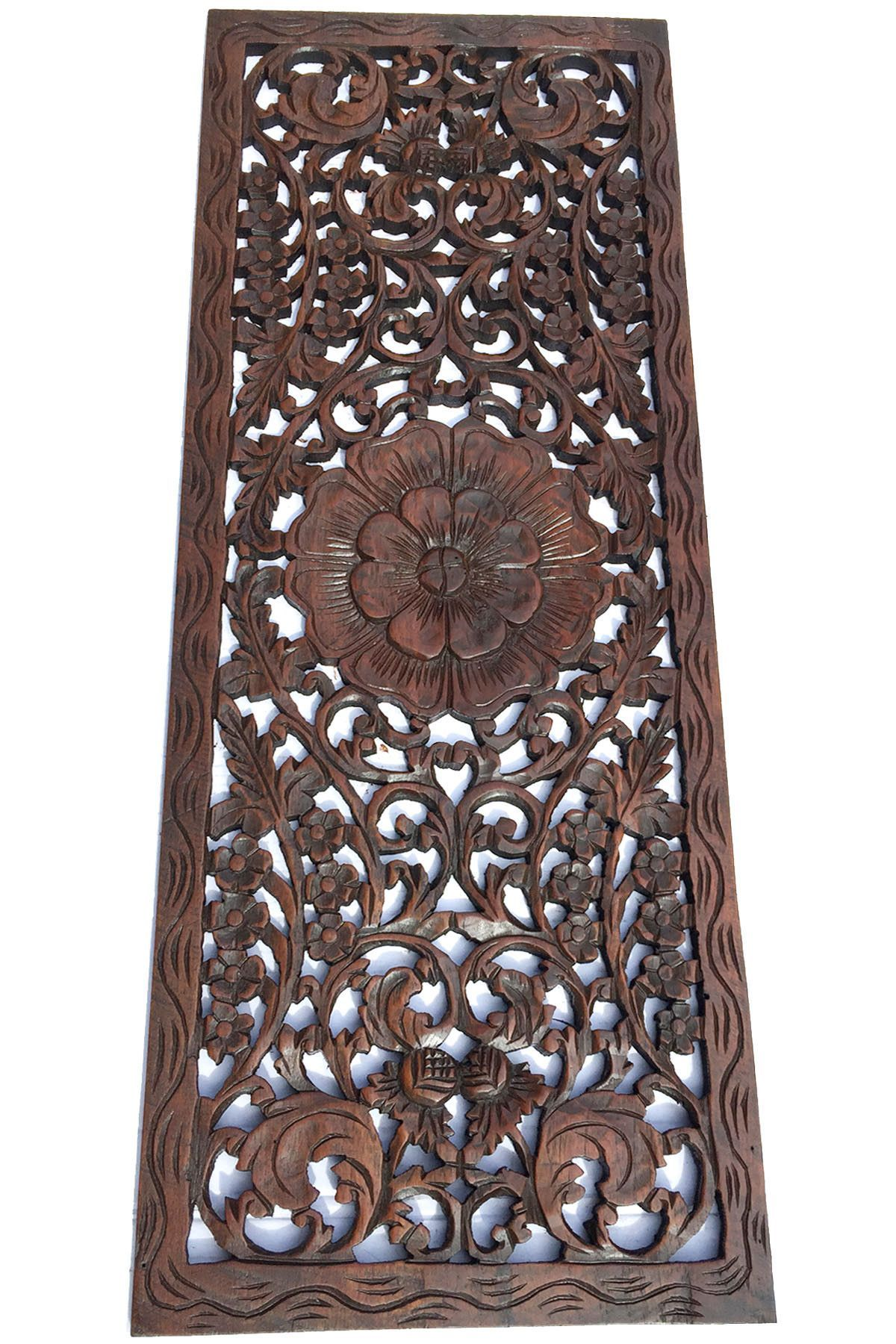 Floral wood carved wall panel rustic home decor carving wood plaque