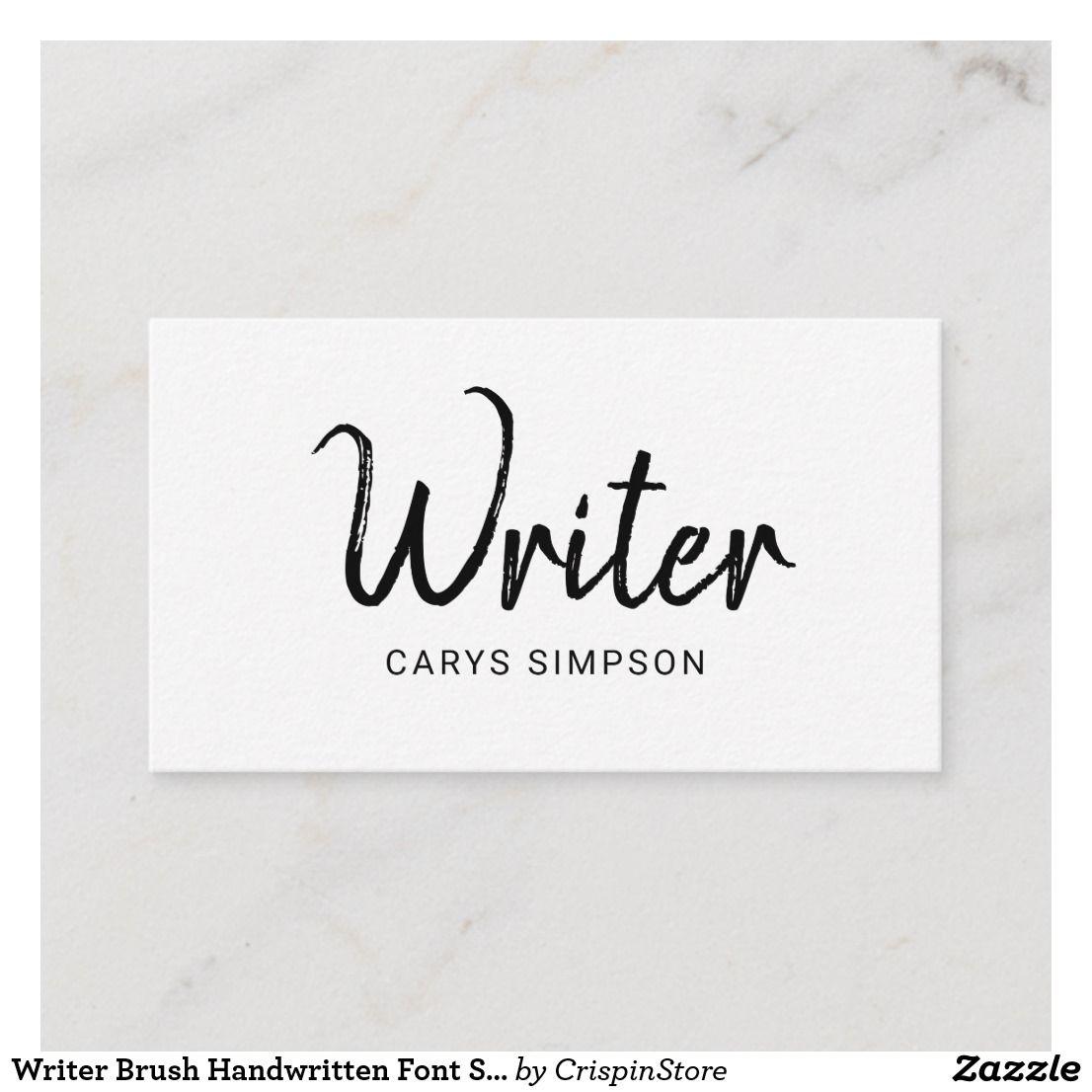 writer brush handwritten font simple white business card