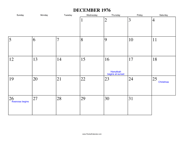 Free Printable Calendar For December 1976 View Online Or Print In