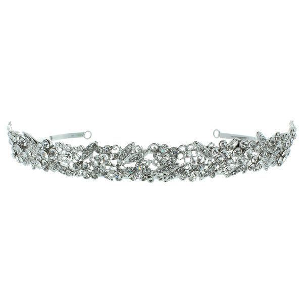 Kate Marie 'olivia' Rhinestones Crown Tiara Headband in Silver ($28) ❤ liked on Polyvore featuring jewelry, grey, jewelry & watches, sparkle jewelry, crown jewelry, rhinestone crown, silver jewellery and rhinestone jewelry