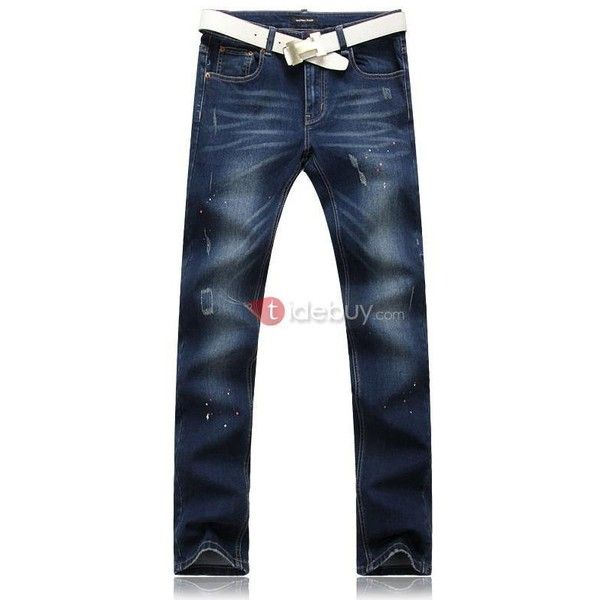 Dark Blue Mid Waist Straight-Leg Jeans (485 ZAR) ❤ liked on Polyvore featuring jeans, straight leg jeans, dark blue jeans and blue jeans