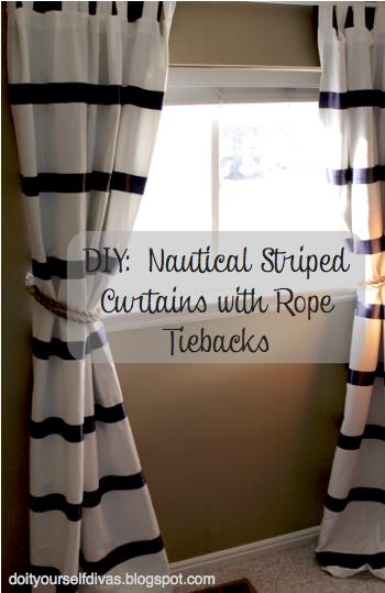 Diy No Sew Striped Curtains With Rope Tiebacks Nautical Baby Room Nautical Room Navy Nursery Boy