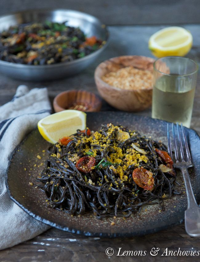 Homemade Squid Ink Pasta with Bottarga | Lemons and Anchovies