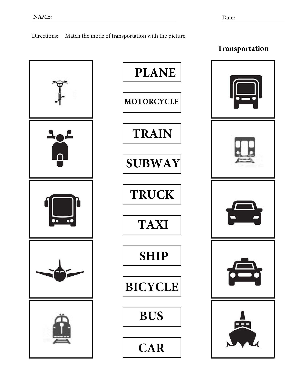 Printable Transportation Vocabulary Worksheets For