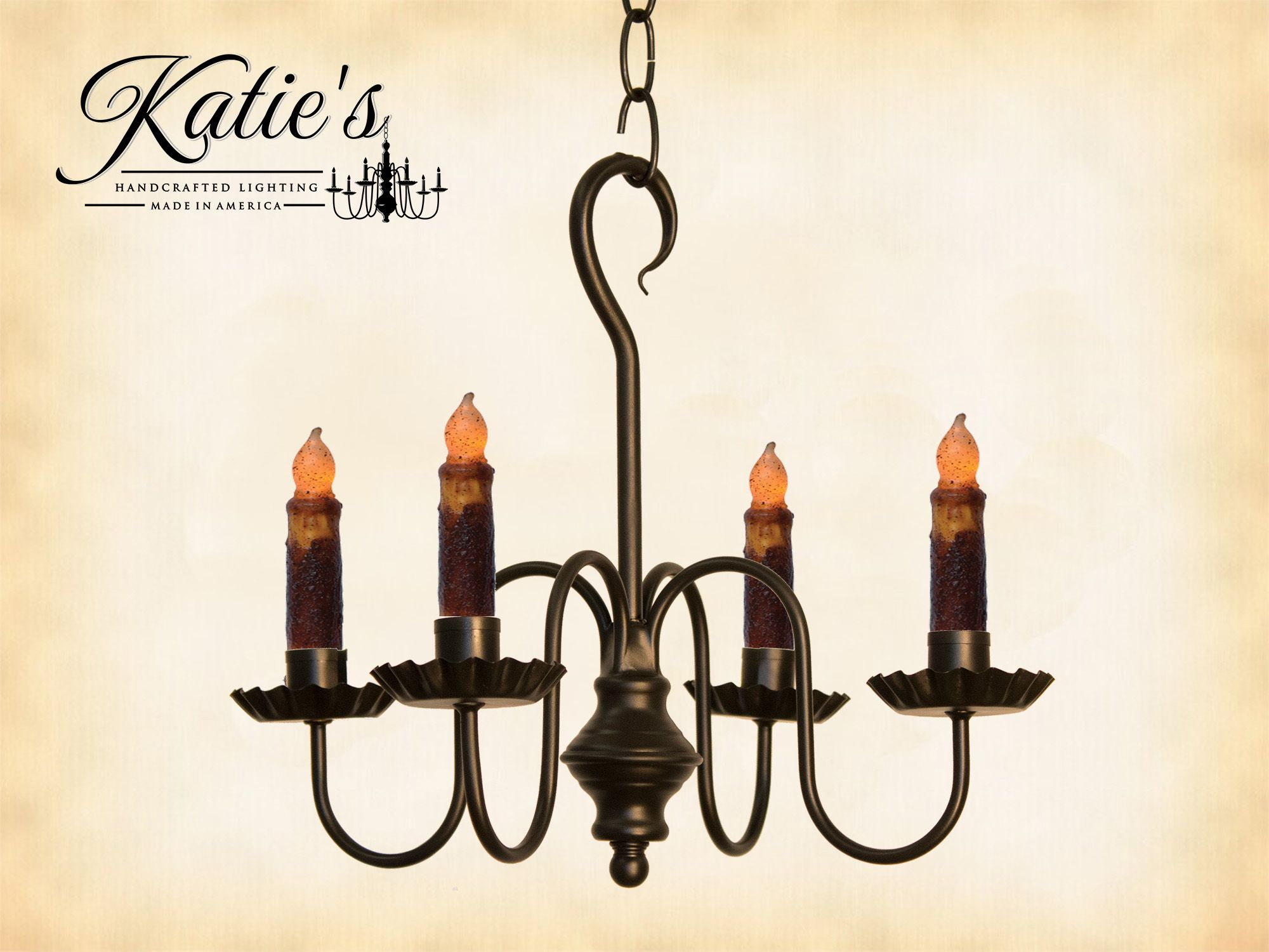 Peppermill Wrought Iron Candle Chandelier