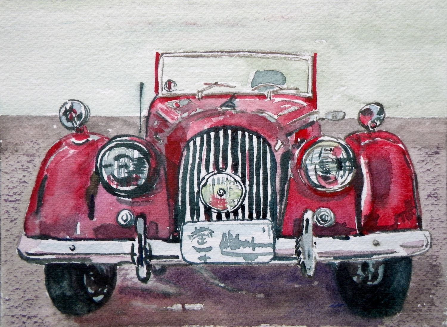 Morgan Red Clic Car Painting Affordable Original Fine Art Watercolor Greeting Card Can Be Framed Custom Paintings