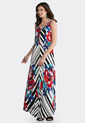 4ca8808559b Cato Fashions Plus Size Striped Floral Maxi Dress #CatoFashions ...