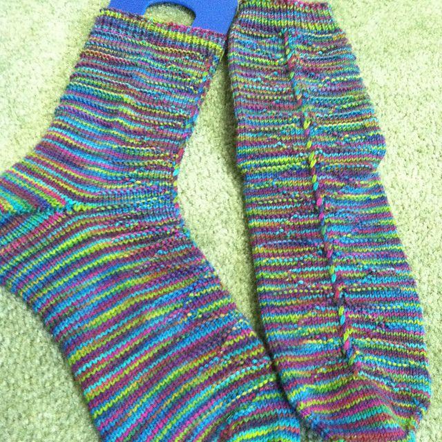 Ravelry: Siobhan53's Springtime Trellis Socks. Mountain Colors Crazyfoot in Springtime