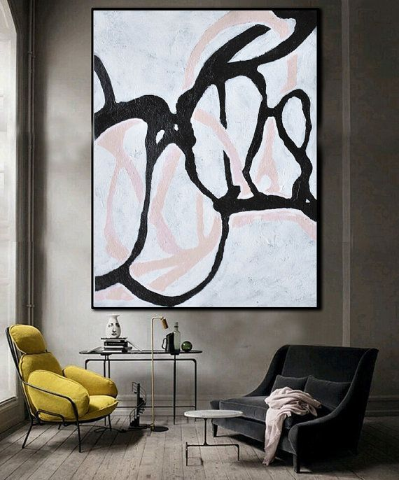 Good Hand Painted Minimal Art On Canvas, Minimalist Painting, Black And White  Geometrical Art From