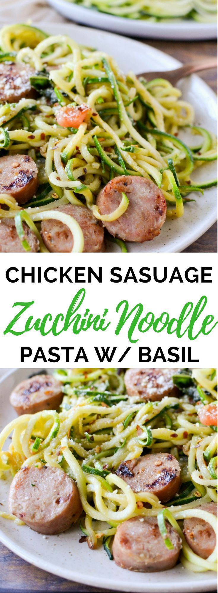 Photo of Zucchini Noodles with Chicken Sausage, Tomato, and Basil (Keto, Gluten Free) – Cooks With Soul
