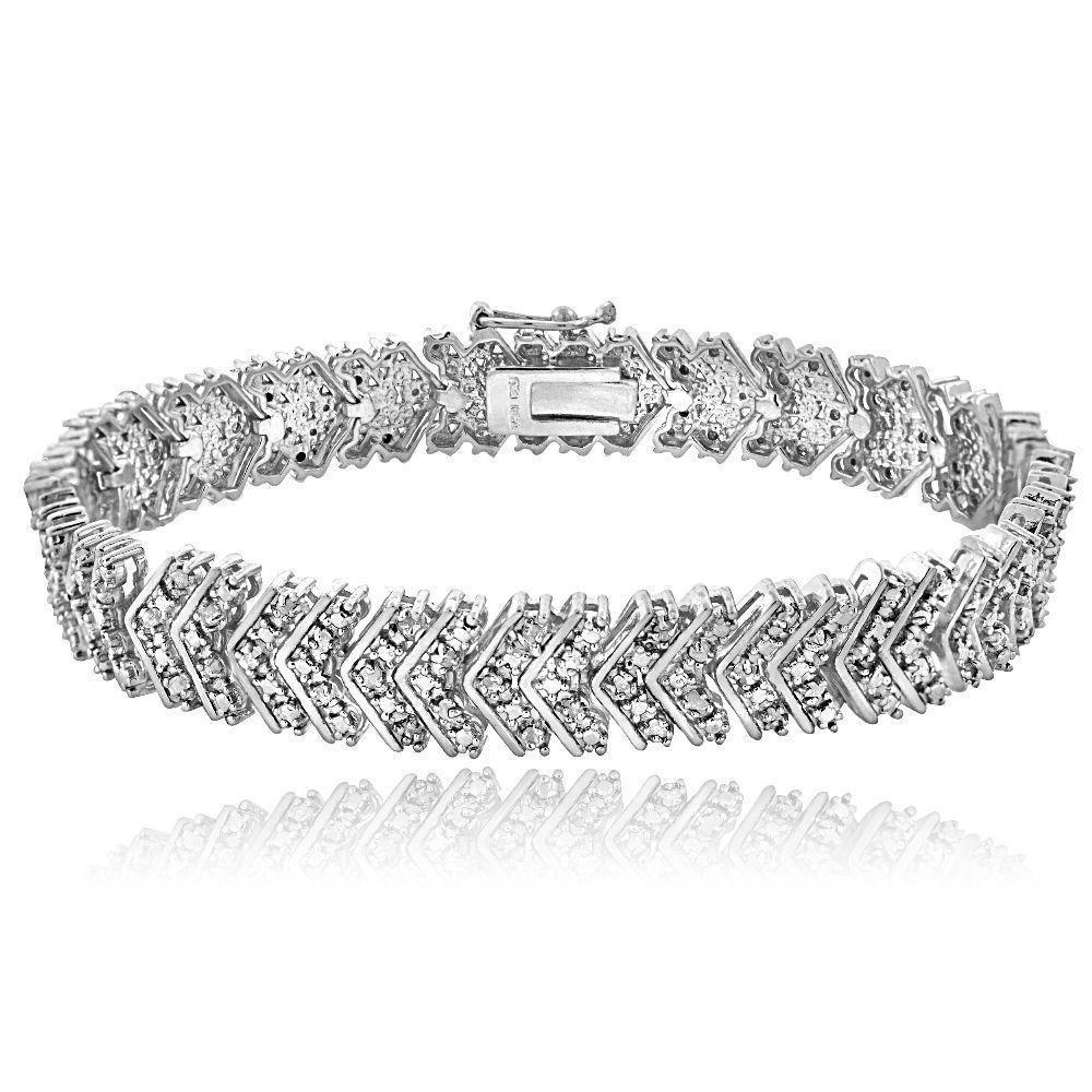 2 00 Ct Diamond Bracelets Bangles Chevron Solid 925 Silver 7 5 Link Wave Jewelry Unbranded Braceletman Made