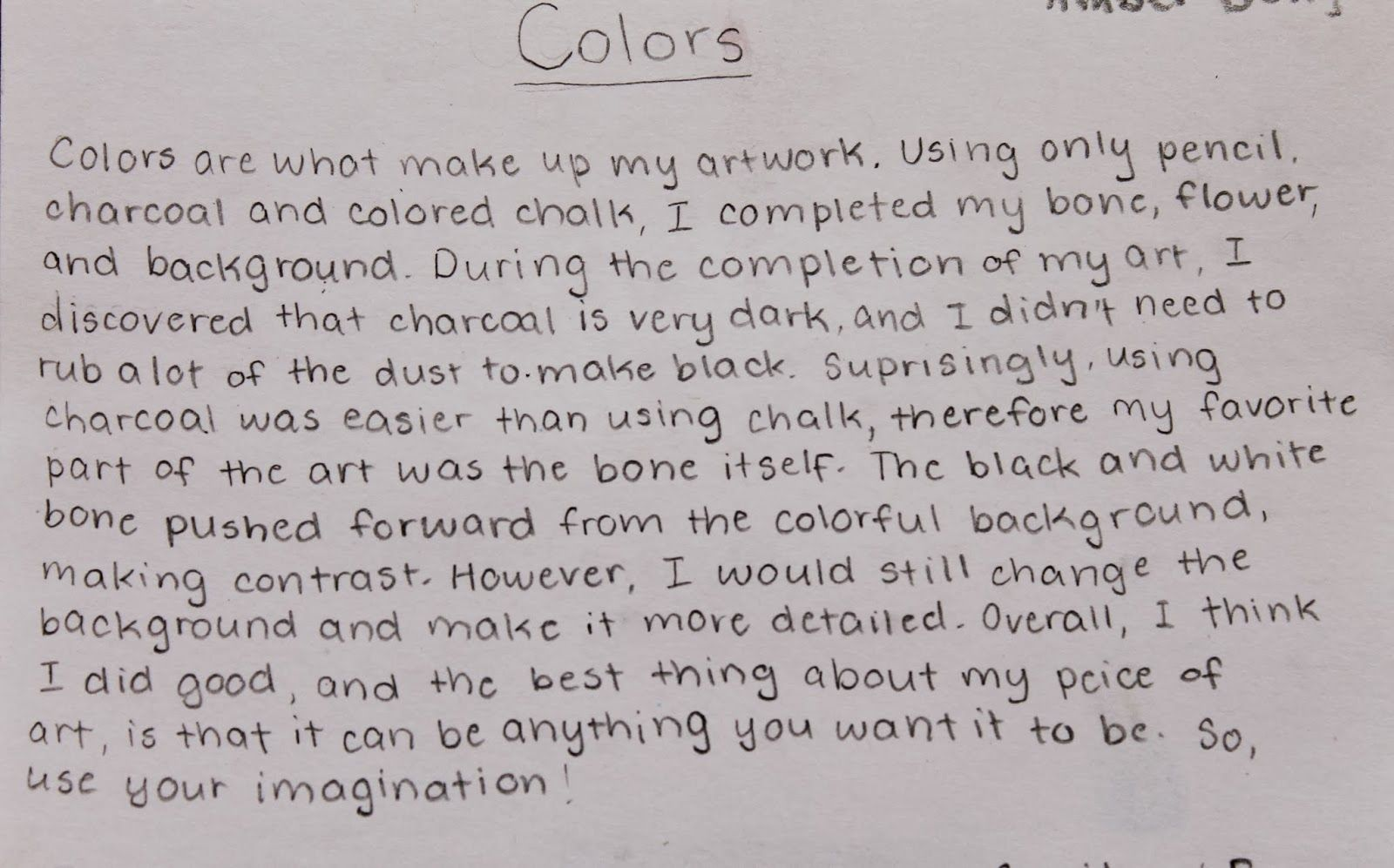Students Write Their Artist Statement On Assignment As