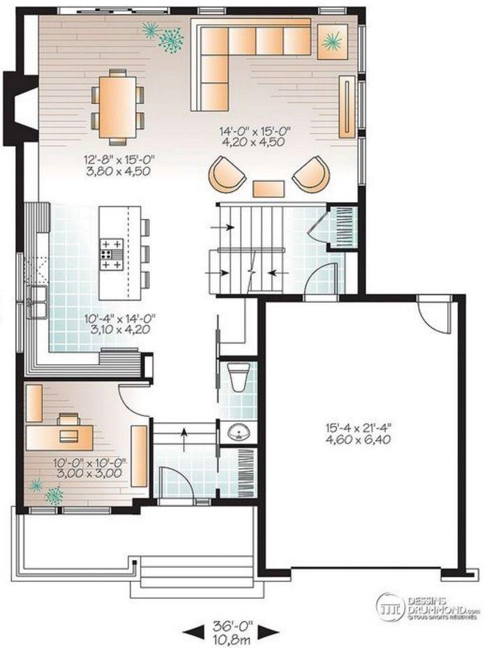Plano de casa moderna con 3 dormitorios y revestida en - Planos casas modernas ...