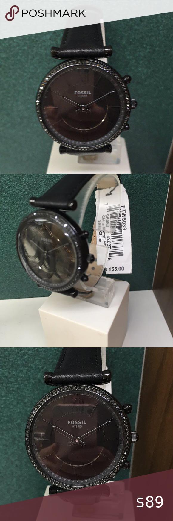 Fossil Ftw5038 Hybrid Smartwatch Carlie Black Notifications Alarm Clock App Alerts Calendar Alerts Smart Watch Activity Tracker Interchangeable Watch Bands