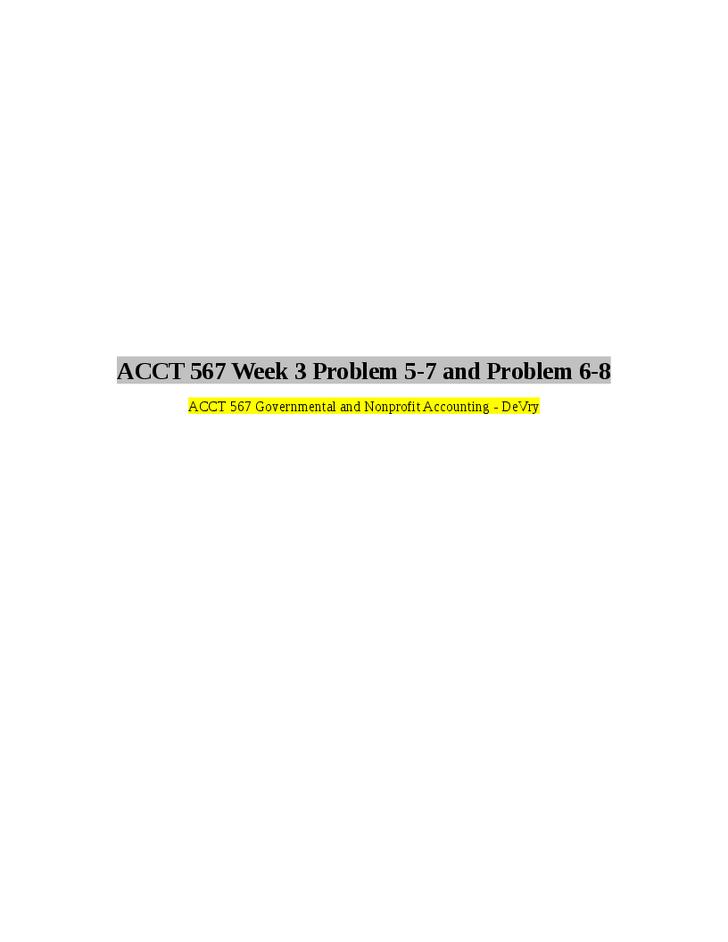acct 567 week 6 homework