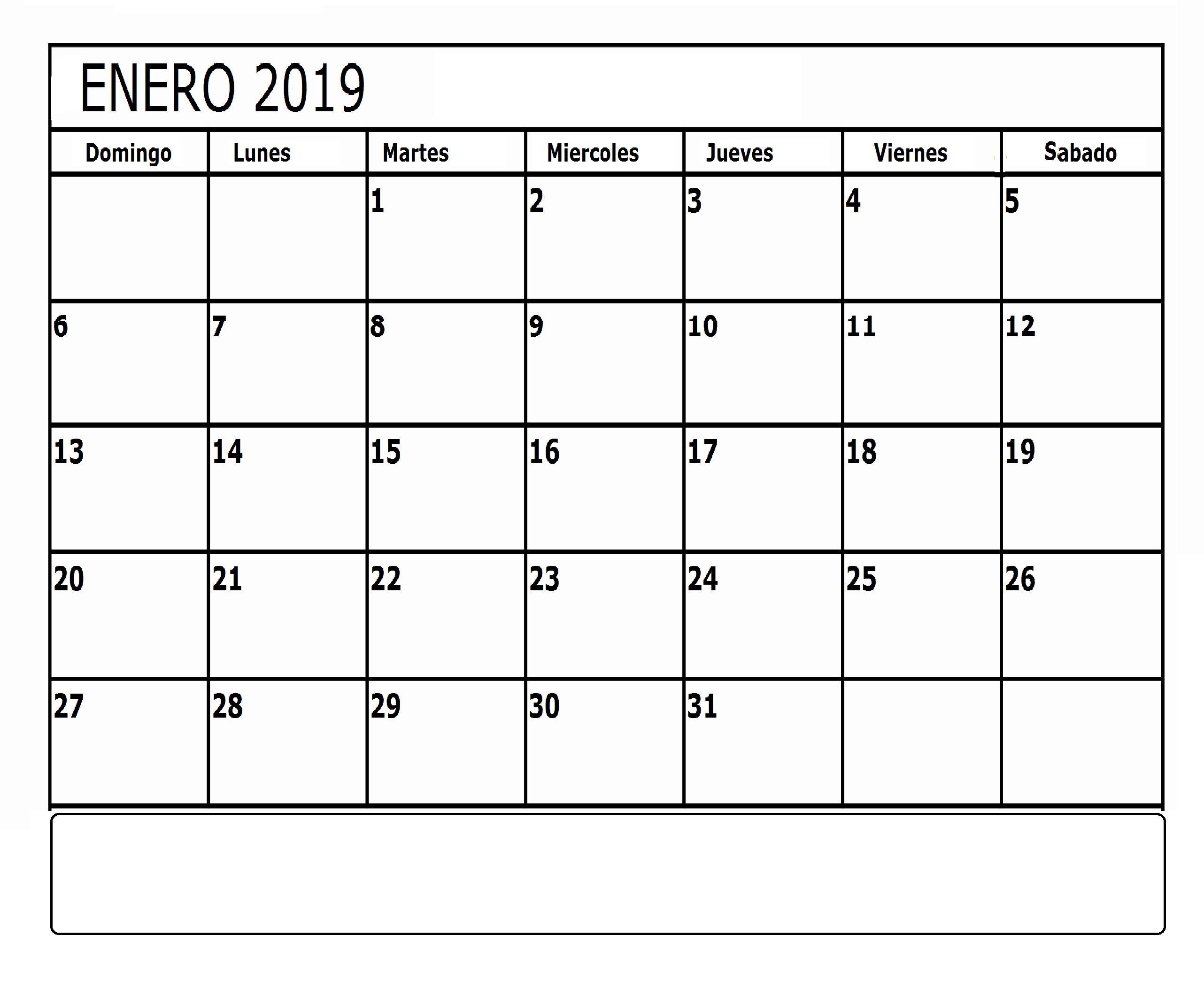 Calendario Enero Para Imprimir