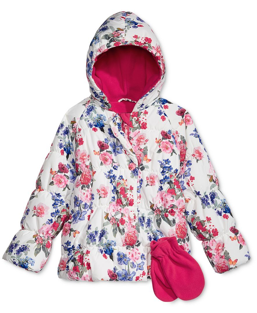 54e7d8588c5a S. Rothschild Baby Girls  2-Pc. Floral-Print Puffer Jacket   Mittens ...