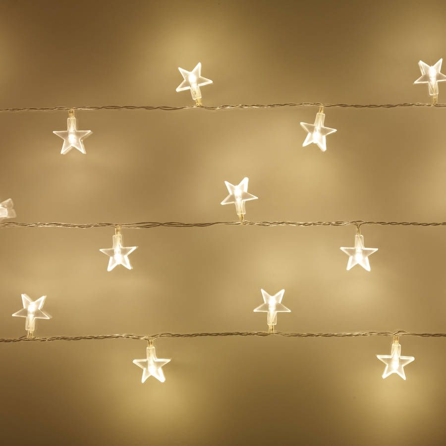 These gorgeous star fairy lights will give a traditional warm white glow  around your home.