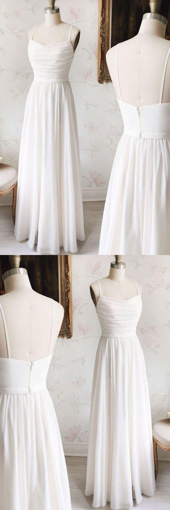 Simple white long chiffon prom dressspaghetti straps evening dress