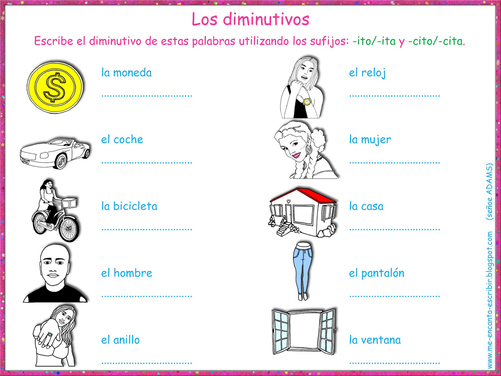 Me Encanta Escribir En Espanol Los Diminutivos