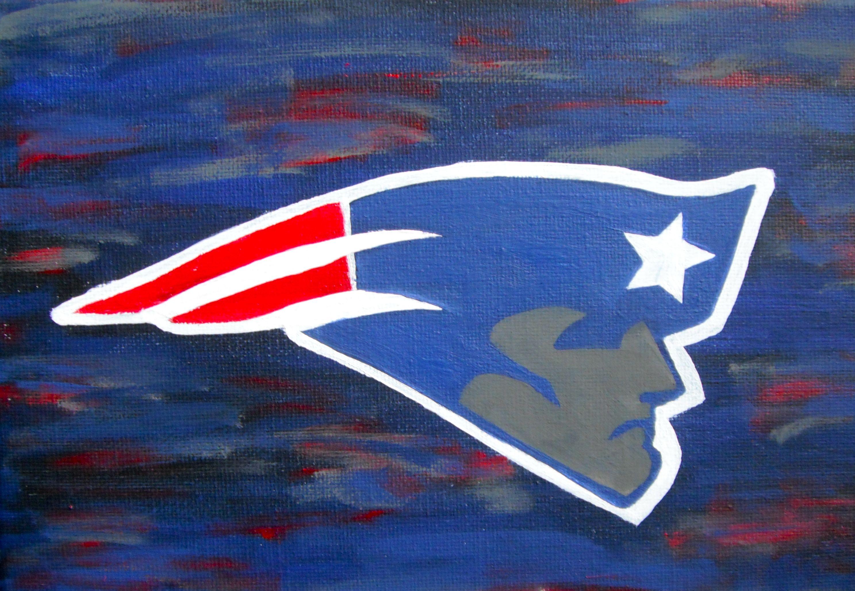 Handpainted Canvas Painting, New England Patriots Logo