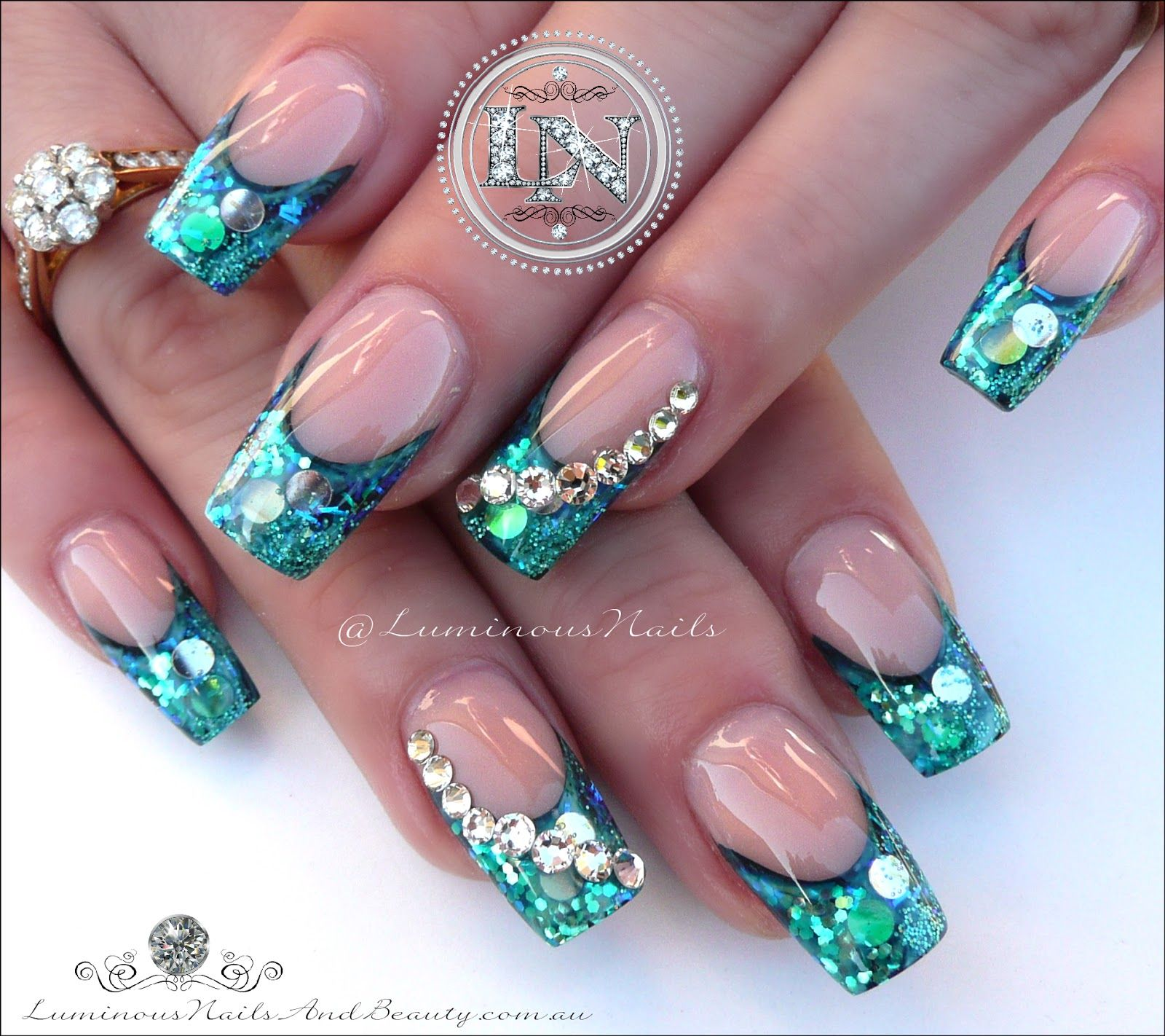 Paua Shell Effect Nails Very Popular Set Sculptured Acrylic With