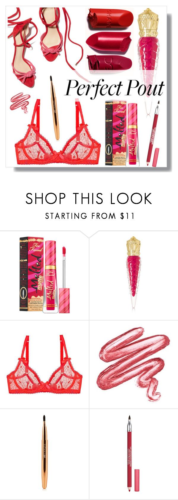 """""""Perfect Pout"""" by hellodollface ❤ liked on Polyvore featuring beauty, Sephora Collection, Christian Louboutin, L'Agent By Agent Provocateur, Lime Crime, Lancôme and springlips"""