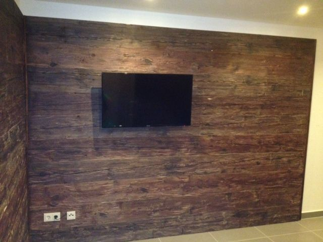 Holz Wandverkleidung Im Wohnzimmer TV Wand 640×480