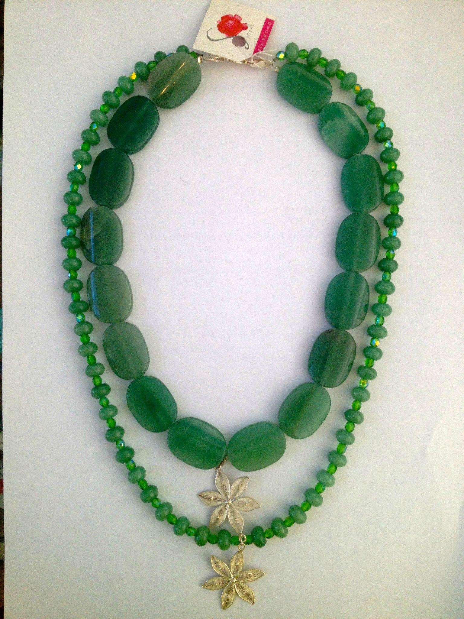 Sofia Prono - Collar Doble De Cuarso Verde Y Fligrana Con -1644