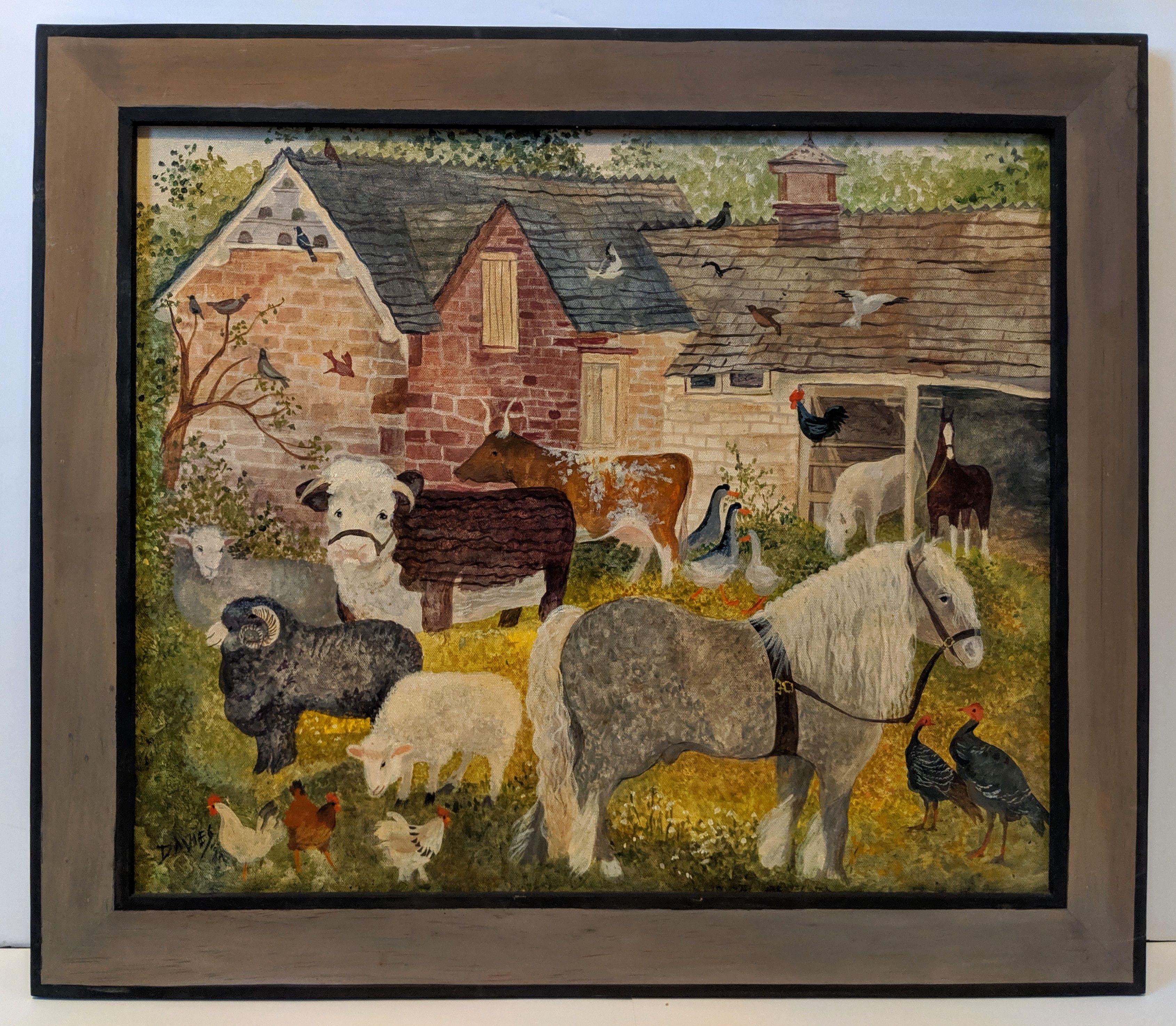 Jeanne Davies Folk Art Painting Art Folk Art Painting Vintage Art