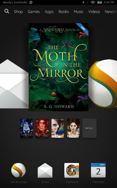 Before I start Unhinged, I had to grab the Moth in the Mirror novella to see the interactions between Jebb and Morphius!! I only wish I could get it in paperback.  The Splintered Series by A. G. Howard.