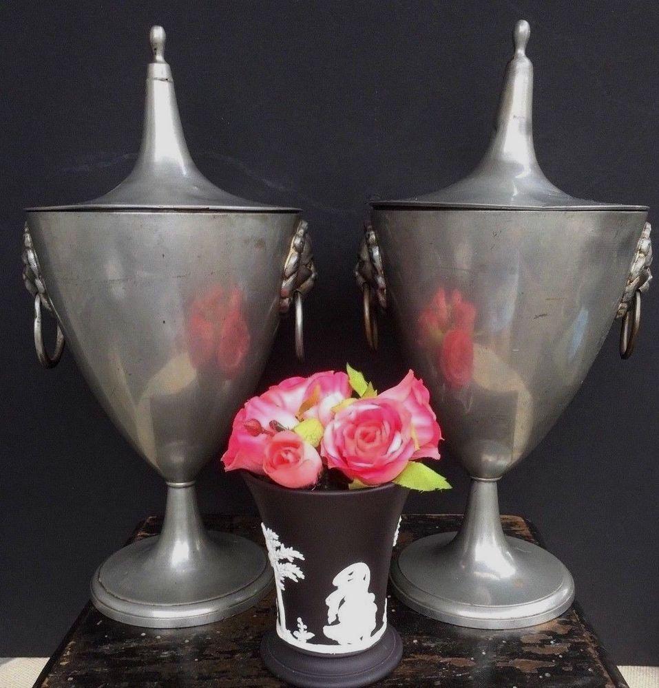 Pair Of Antique 18th Century Pewter Chestnut Urns Toleware