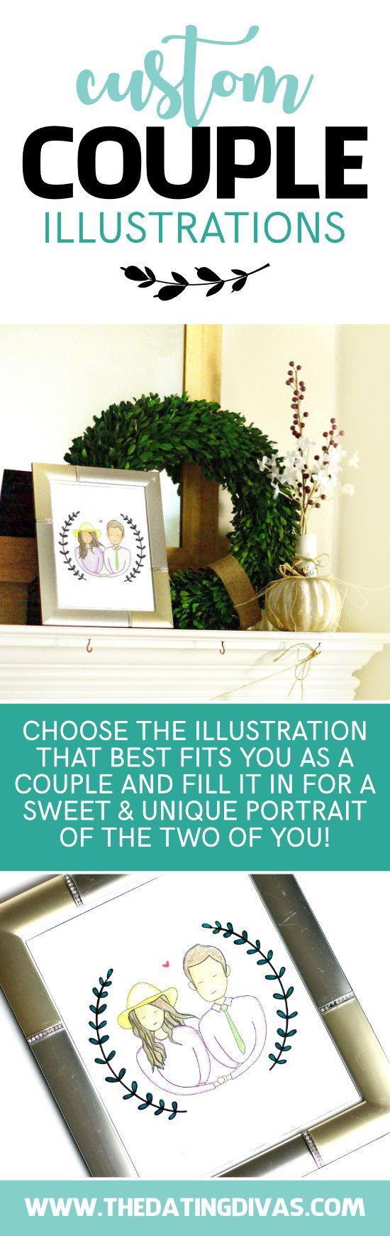 Custom Couple Illustrations Custom Couple Illustration Couple Illustration Diy Projects For Couples