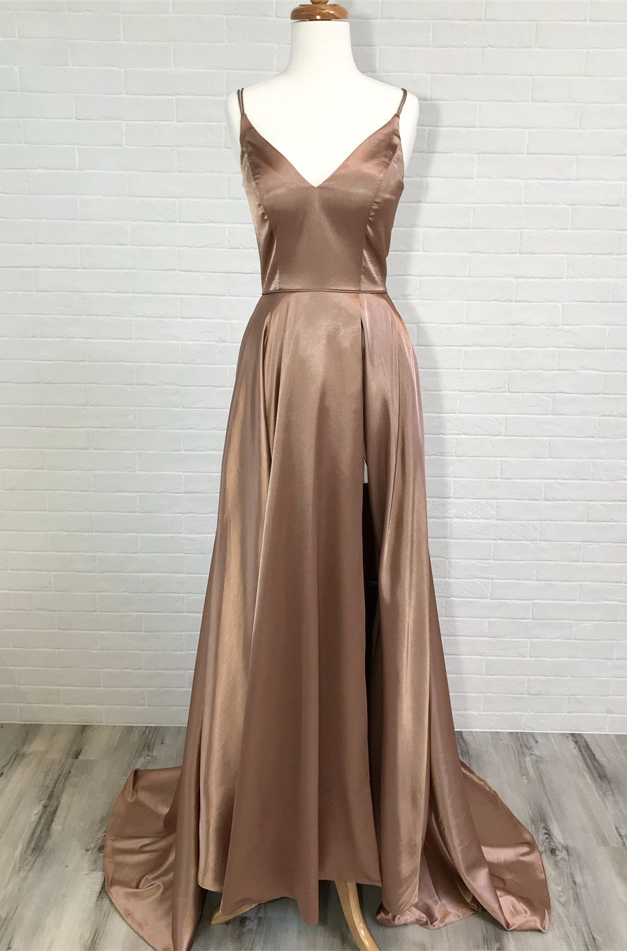 Eleagnt aline straps redchampagne long prom dress prom