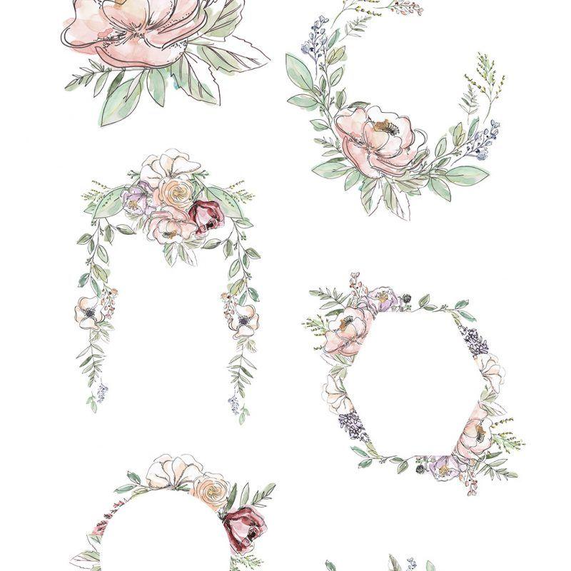 Garden Floral Watercolor Invitation Borders Papers Clipart Essem Creatives Floral Watercolor Flower Border Clipart Clip Art