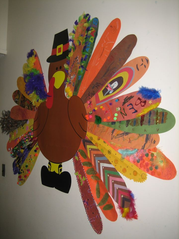 family activity,,send home feather for each family, they decorate and send  back, feathers are assembled into a class turkey