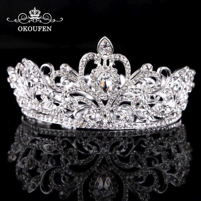Wedding Bridal Pageant Crown Crystal Rhinestone Princess Silver Jewelry Tiara