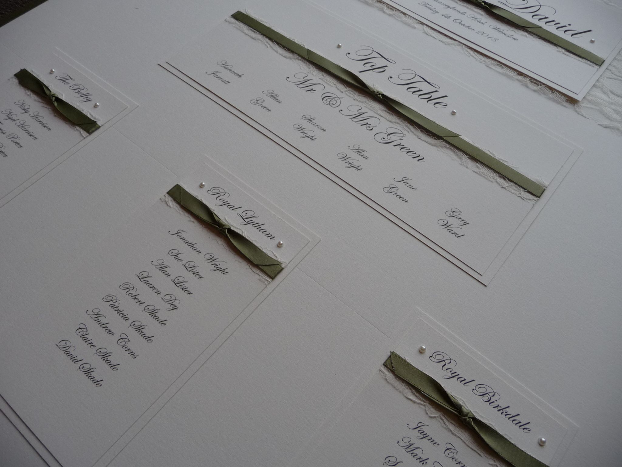 Navy, Sage Green and Lace themed Table Plan