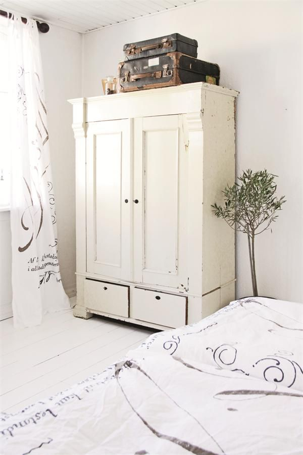 Bedroom Armoire, Olive Tree. White, Grey, Black, Chippy, Shabby Chic