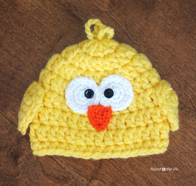 Crochet Chunky Baby Chick Hat (Repeat Crafter Me)